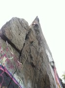 Rock Climbing Photo: Leading the left side variation.