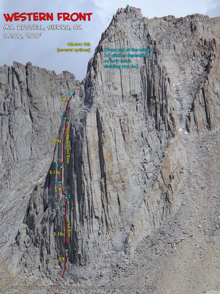 Rock Climbing Photo: Route Overlay Western Front