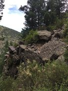 Rock Climbing Photo: This outcropping sits directly below a grassy flat...