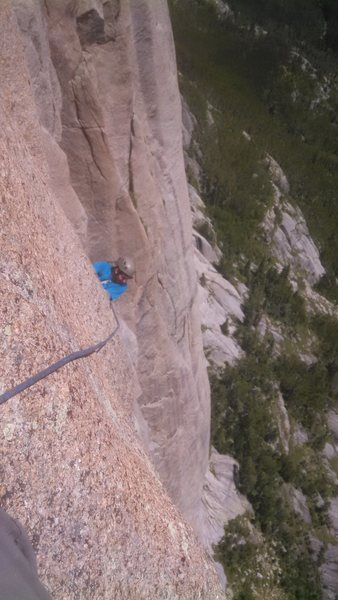 Rock Climbing Photo: 5.10 A0+. This pitch is pretty hard. I was feeling...