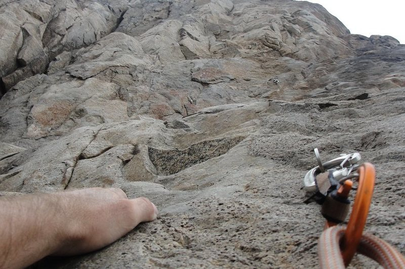 Rock Climbing Photo: looking up the route with holds and bolts as far a...