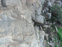 Rock Climbing Photo: looking down the route from the anchors..