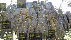 Rock Climbing Photo: Routes on the central section of the Loading Zone.