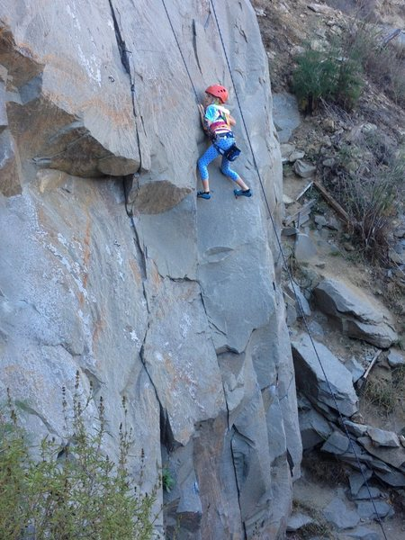 8 year old Paige killing it on the Main Wall at Tick Rock.