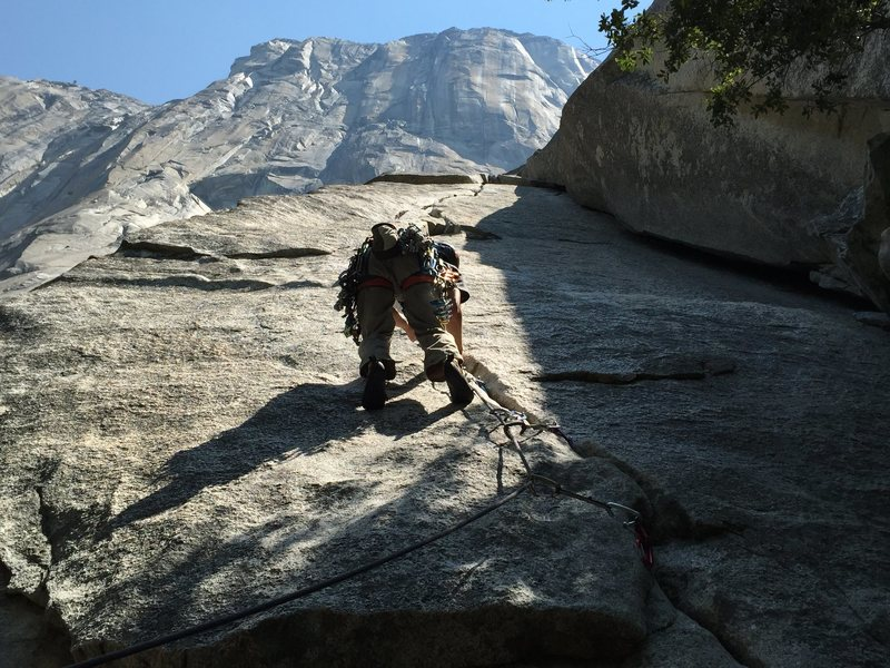 Looking up towards El Capitan. Rober is about 12 feet from the start of the climb. <br> <br> The crack running on the right is Ahab.