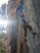 "Rock Climbing Photo: Eric Dixon approaching the crux on ""Boys of S..."