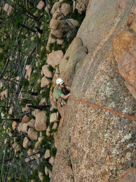 Climbing it.