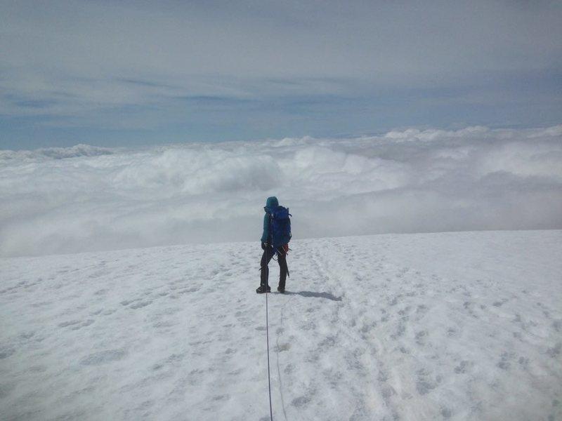 Rock Climbing Photo: Walking into the clouds- Baker. Photo from climbin...