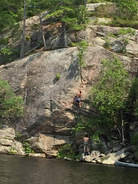 Rock Climbing Photo: Alex sending on toprope.  The line follows the obv...