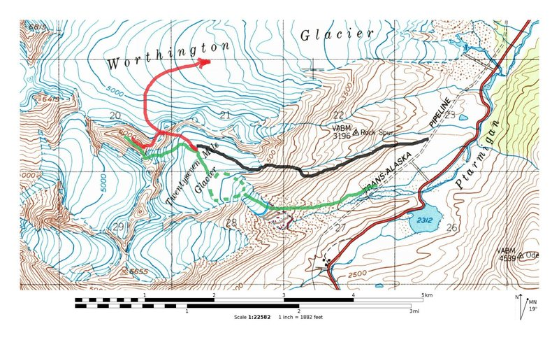 Rock Climbing Photo: Green-South Ridge Red-East Ridge Black-Alternative...