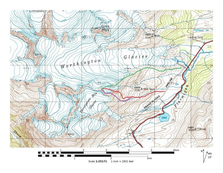 Green-Moraine Ridge (Trail 3/4 of the way up)<br> Red- Catcher Mitt<br> Cauliflower Couloir/Rich's Ditch-Purple
