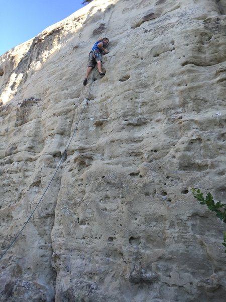 Rock Climbing Photo: Kristian pulling through the crux on lead