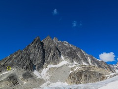 Rock Climbing Photo: Route starts on the ledges at the top of the snow ...