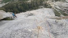 Rock Climbing Photo: Looking down pitch 6 - the crux traverse  starts j...