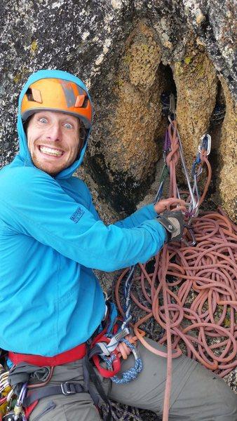 Rock Climbing Photo: Happy Monkey belay - top of pitch 4