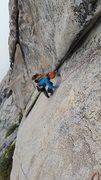 Rock Climbing Photo: Luke following on pitch 1