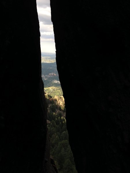 Looking out the top of the cool chimney.