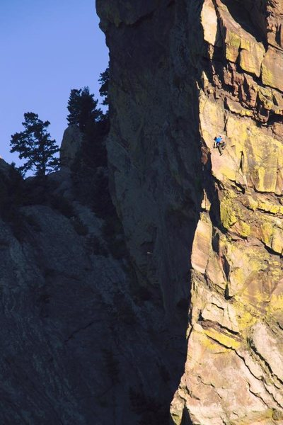 Rock Climbing Photo: Early morning Naked Edge solo.  Photo by Kevin Kie...