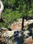 Rock Climbing Photo: The ledge to set the TR anchor on