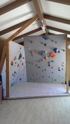 Rock Climbing Photo: Finished wall with added holds, foam on the floor ...