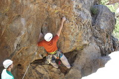 Rock Climbing Photo: Leading the start of the route.