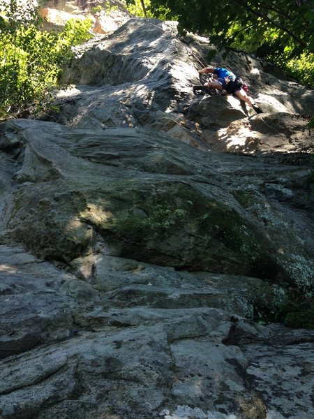 Rock Climbing Photo: Climber pulling up to the the tricky crux sequence...