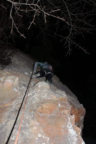 Rock Climbing Photo: Climber top-roping Molt, in the dark