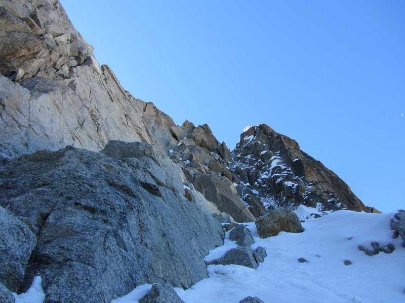 Rock Climbing Photo: pitch 1, the route goes up and left towards the li...