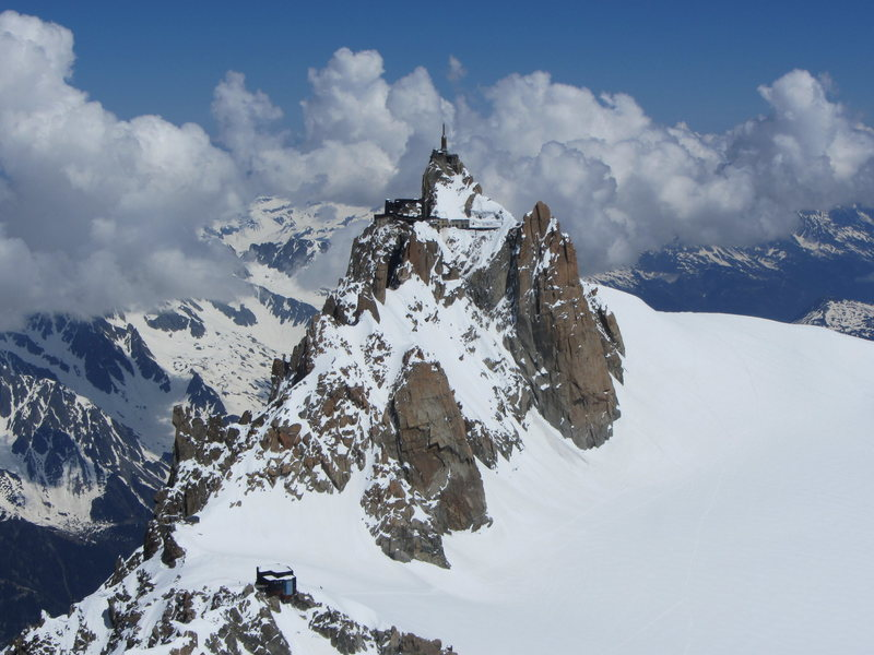 Aiguille du Midi and refuge des Cosmiques as seen from Mont Blanc du Tacul