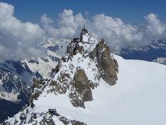 Rock Climbing Photo: Aiguille du Midi and refuge des Cosmiques as seen ...