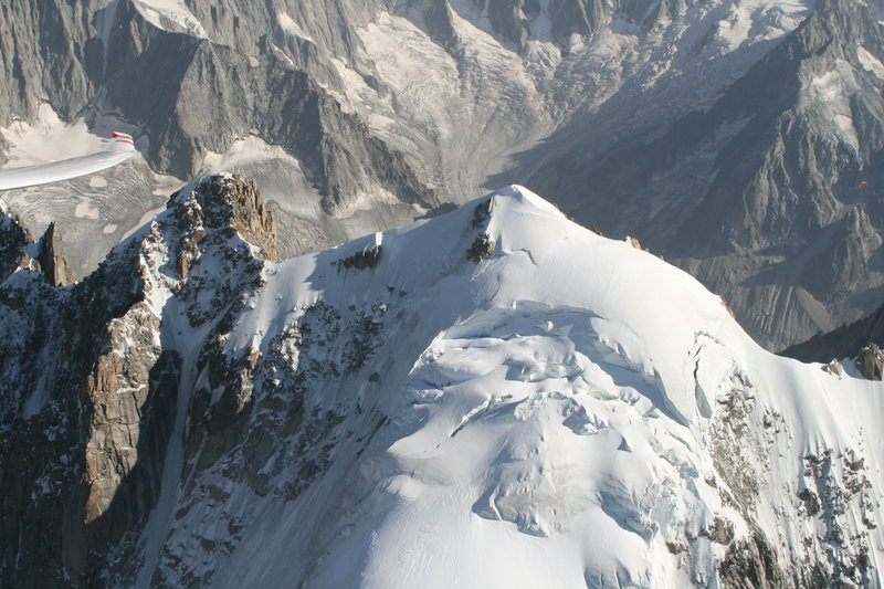 aerial view of the Aiguille Verte summit, with the upper Couturier in the shade