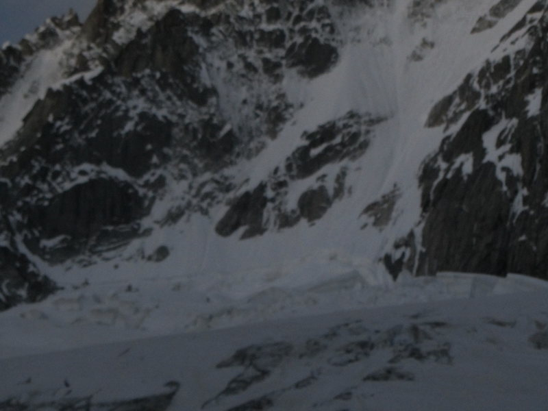 start of the couloir is typically accessed from the right side after crossing the bergschrund