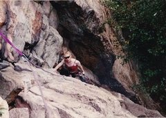 Rock Climbing Photo: SHERI ON THE FIRST PITCH OF HIGH EXPOSURE 1993