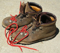 Rock Climbing Photo: #1 Mountain boots bought in Italy - 1972
