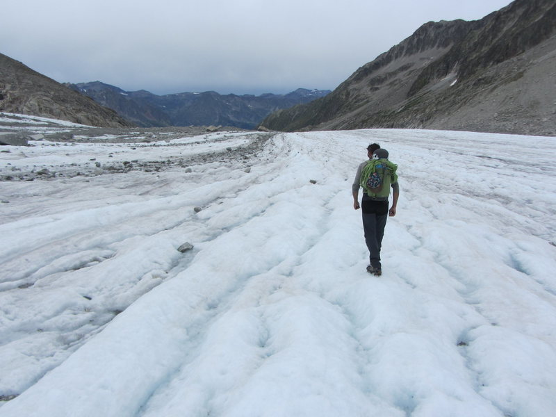 hiking out on the glacier, July 2015