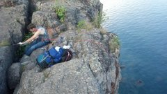 Rock Climbing Photo: Setting up for top-rope at the top of Wise Guys. V...
