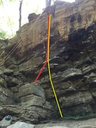 Rock Climbing Photo: Happy Hooker(yellow) and Block Direct(red)