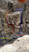 Rock Climbing Photo: The ledge routes from the top of the canyon