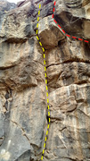 Rock Climbing Photo: The ledge routes from below