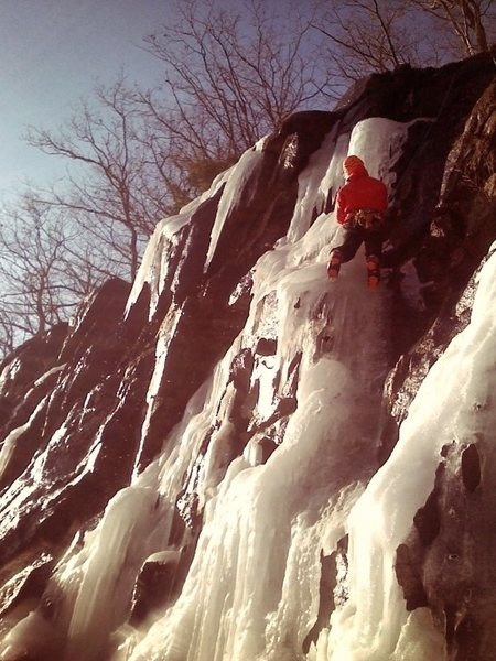 Short ice route to the left of the slab