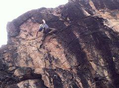 Rock Climbing Photo: Euro Van's crux reach to a gaston.  Positive w...