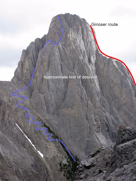 Mt Louis as seen from Cory pass. The approximate line of descent is shown.