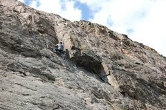 Rock Climbing Photo: Squeezing through the dihedral on First Impression...