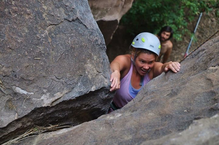 Rock Climbing Photo: Kelsey powers out of the low crux on Tanks.