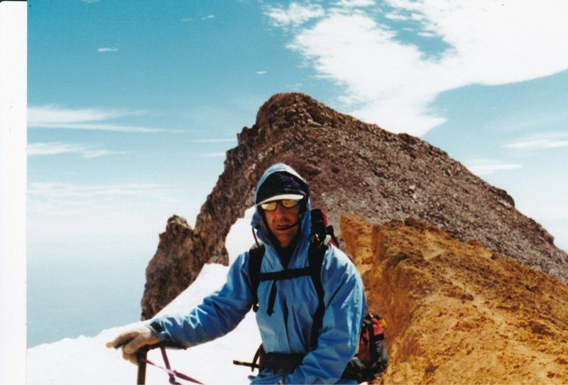 Randy Chalnick  just above the red banks band with thumb rock in backround on Mnt. Shasta Ca. Sept. 1997