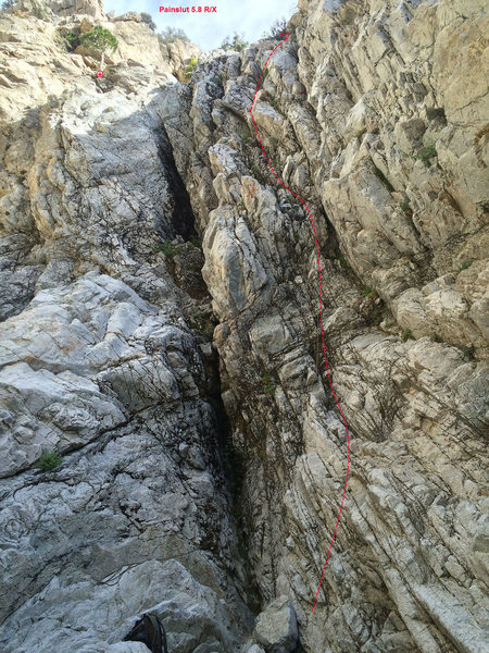 Follow the red line, breh. Second pitch follows 5.6-7 slabs up and out of sight.