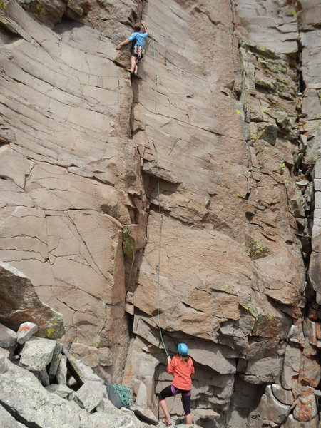 Rock Climbing Photo: Scott on lead and Lili on belay