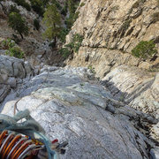 Rock Climbing Photo: Up on some slabby business above the chimney secti...