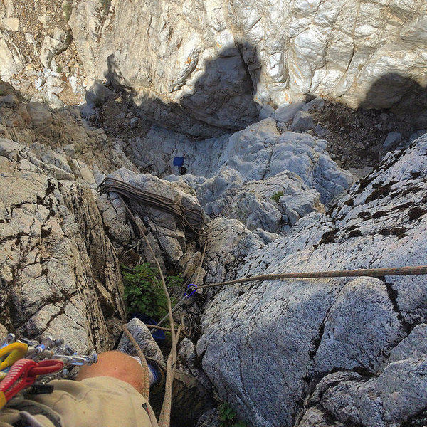 Rock Climbing Photo: Looking down partway up the chimney section, which...