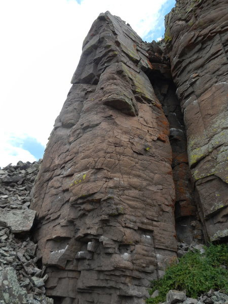Two lines left and right of the blunt arete.  Left = Andy's Line and Right Gene's